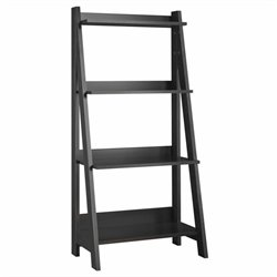 Bush Alamosa 4-Shelf Ladder Bookcase in Black