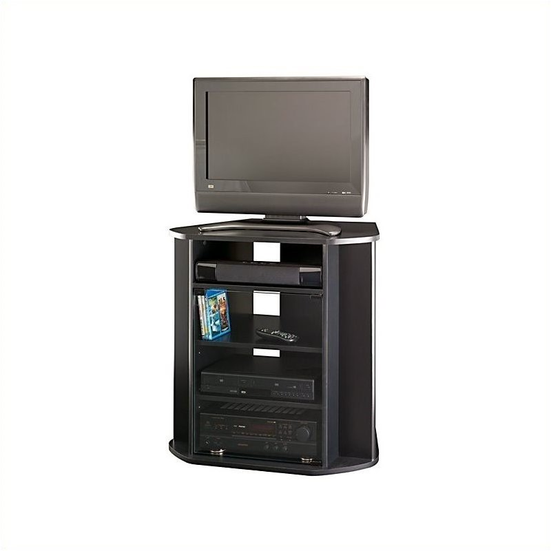 "Bush Myspace Visions Tall Corner 31"" TV Stand in Black ..."