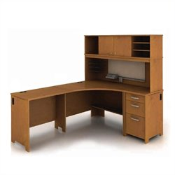 Bush Envoy L-Shaped Desk in Natural Cherry