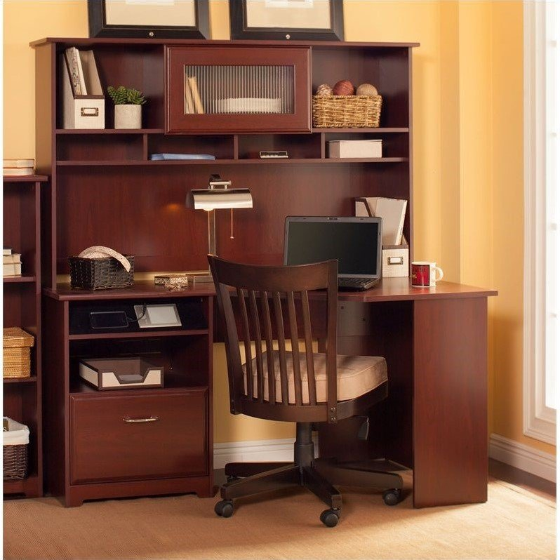 Bush Cabot 60 Quot Corner Computer Desk With Hutch In Harvest