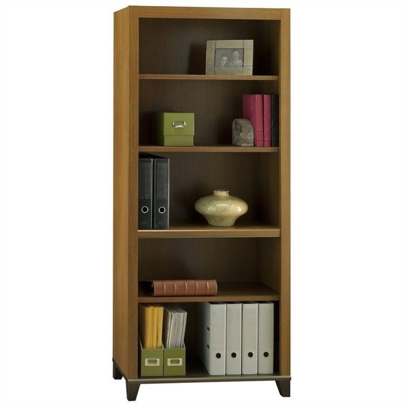 Achieve 5-Shelf Bookcase with Adjustable Shelves in Warm Oak
