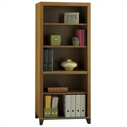 Bush Achieve 5-Shelf Bookcase with Adjustable Shelves in Warm Oak