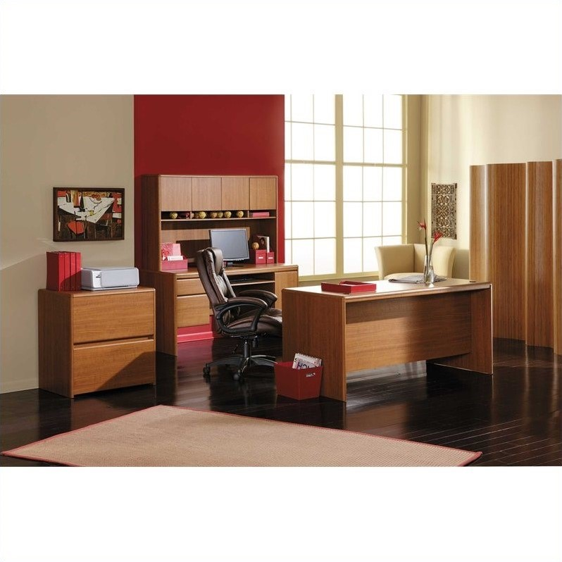 Northfield 4-Piece Executive Computer Desk Set in Dakota Oak