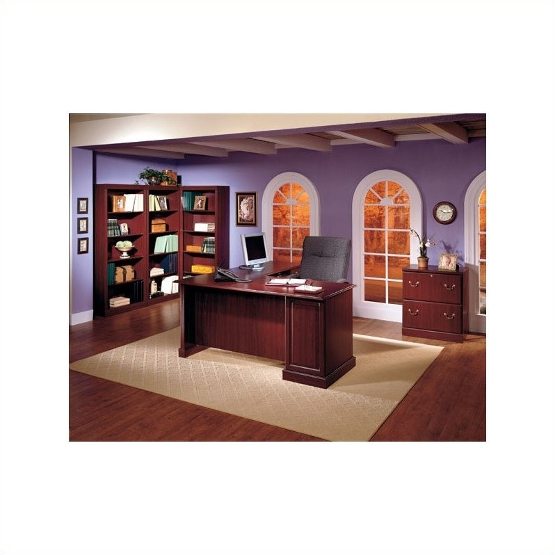 Saratoga 5-Piece Executive Computer Desk in Harvest Cherry