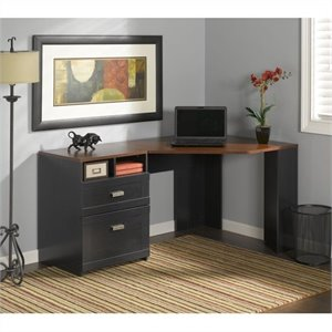 Bush Furniture Wheaton Reversible Corner Desk in Antique Black