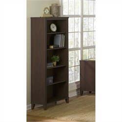 Bush Somerset 5-Shelf Bookcase in Mocha Cherry