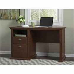 Bush Yorktown Single Pedestal Desk in Antique Cherry