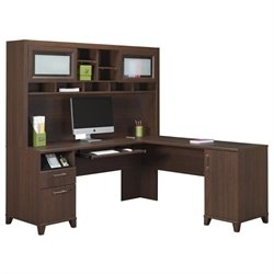 Bush Achieve L Shape Home Office Desk with Hutch in Sweet Cherry