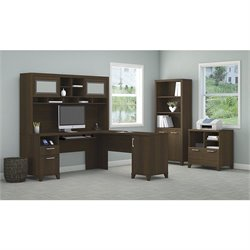 Bush Achieve 4 Piece L Shape Desk Office Set in Sweet Cherry