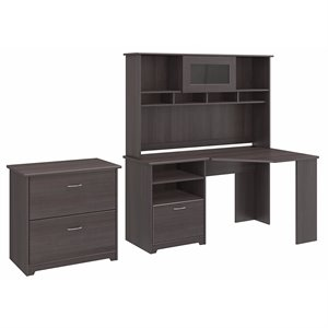Bush Cabot Corner Desk with Hutch and 2 Drawer File Cabinet in Heather Gray