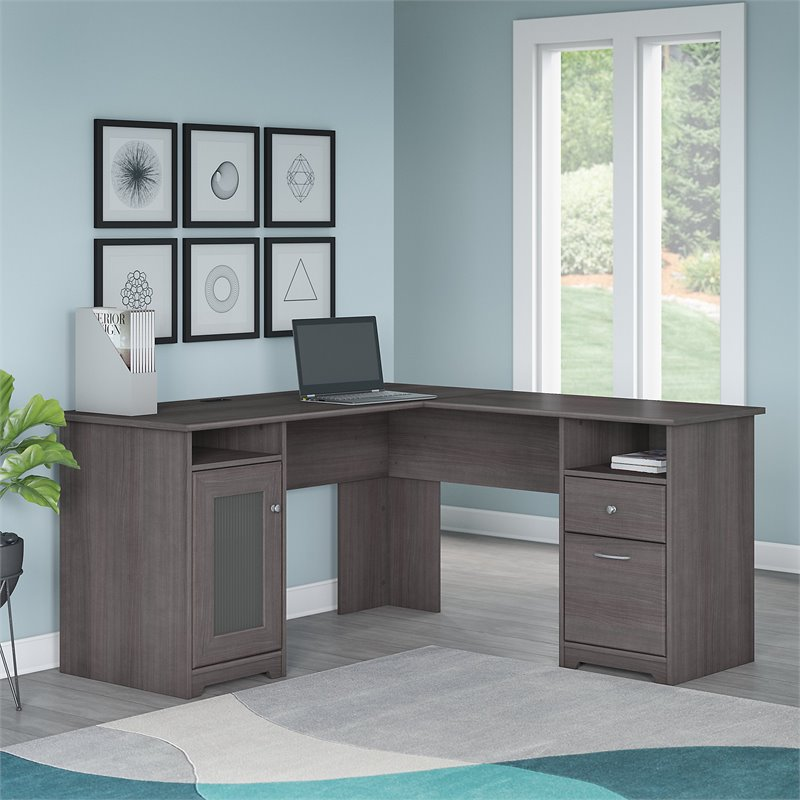 Superbe Bush Furniture Cabot L Shaped Desk In Heather Gray