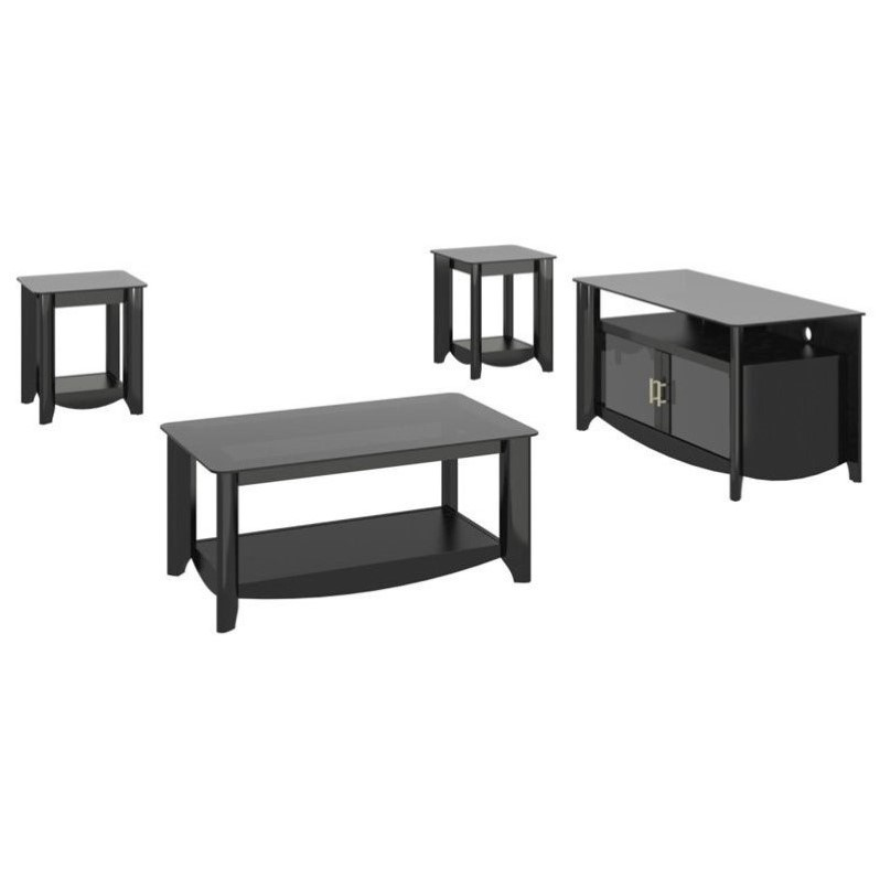 Bush aero coffee table set with tv stand in classic black aer006bk Coffee table tv stand set