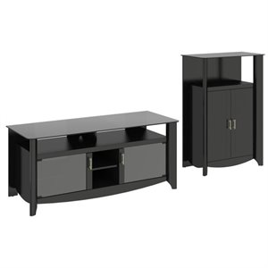 Bush Aero TV Stand with Medium Storage Cabinet in Classic Black