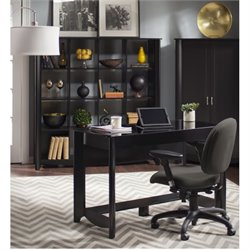 Bush Aero Computer Desk with Bookcase in Classic Black