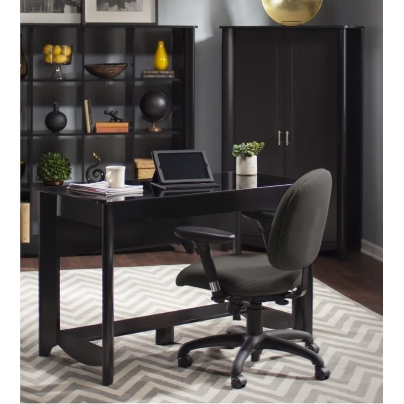 Aero Writing Desk And Tall Storage Cabinet With Doors In Classic Black