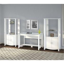 Bush Aero Computer Desk with Curio Cabinet in Pure White