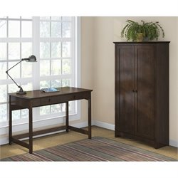 Bush Buena Vista Computer Desk with Storage Cabinet in Madison Cherry