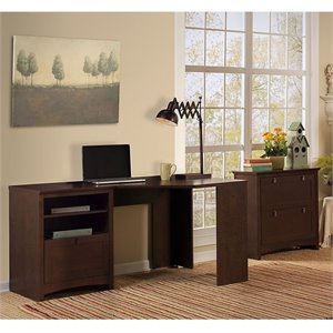 Bush Furniture Buena Vista Corner Desk with Lateral File Cabinet in Madison Cherry