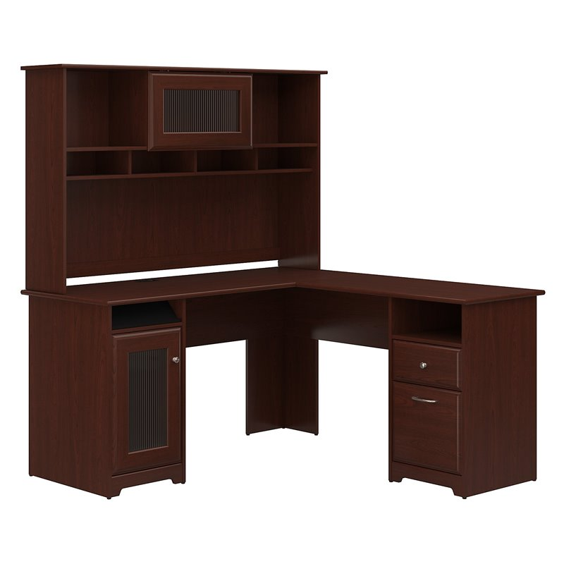 Bush Cabot 60 Cherry L Shape Computer Desk With Hutch Cab001hvc