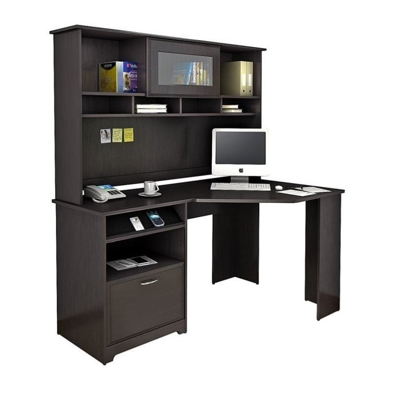 Bush Cabot 60 inch Corner Desk with Hutch in Espresso Oak