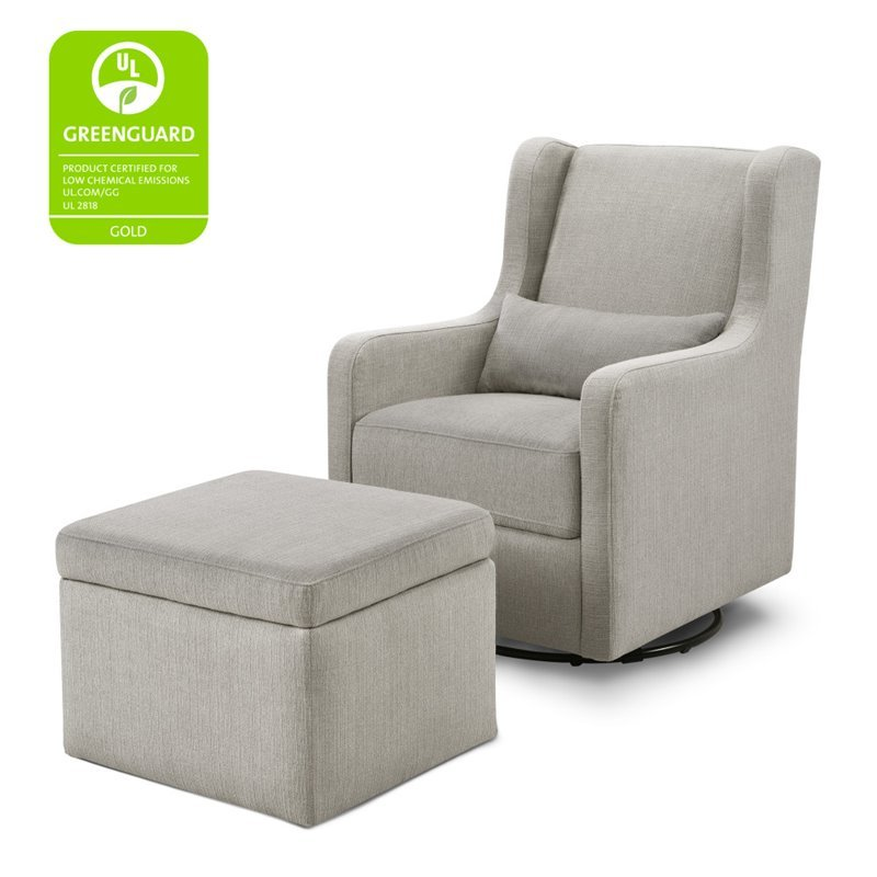 Outstanding Carters By Davinci Adrian Swivel Glider With Storage Ottoman In Gray Pabps2019 Chair Design Images Pabps2019Com