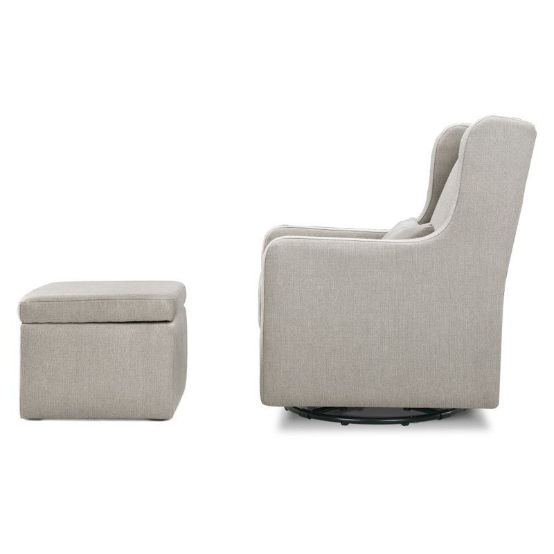 Superb Carters By Davinci Adrian Swivel Glider With Storage Ottoman In Gray Pabps2019 Chair Design Images Pabps2019Com