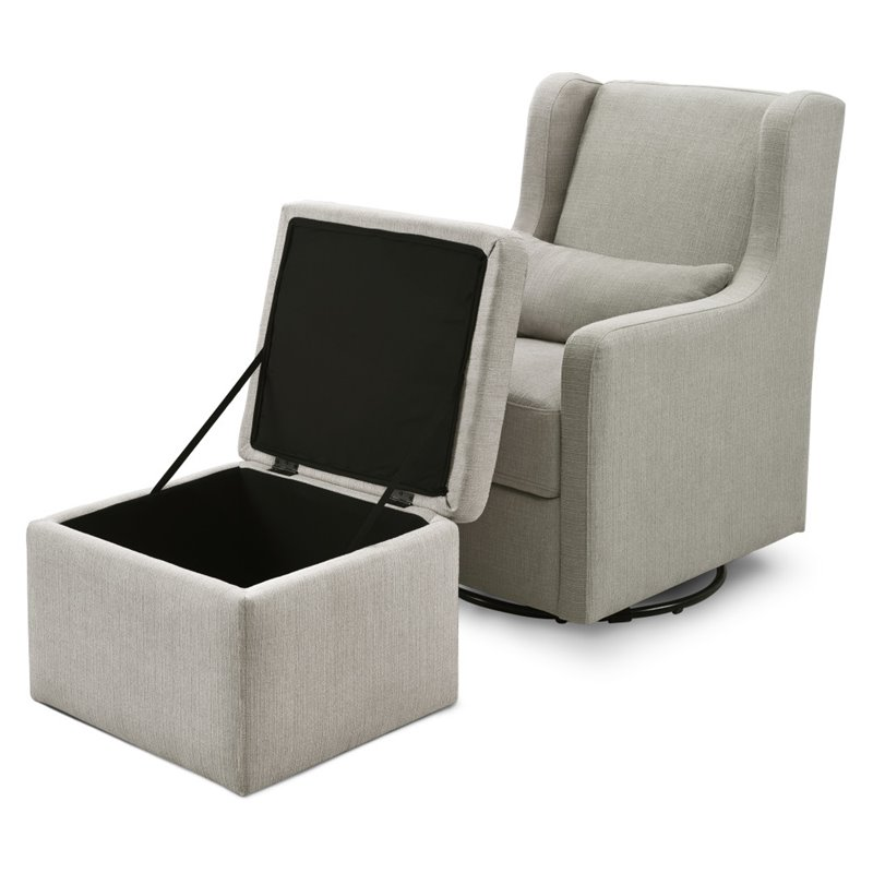 Pleasing Carters By Davinci Adrian Swivel Glider With Storage Ottoman In Gray Pabps2019 Chair Design Images Pabps2019Com