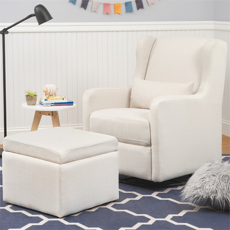 Amazing Carters By Davinci Adrian Swivel Glider With Storage Ottoman In Cream Pabps2019 Chair Design Images Pabps2019Com