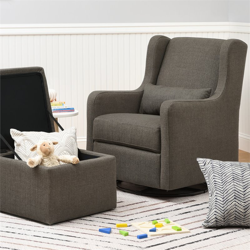 Magnificent Carters By Davinci Adrian Swivel Glider With Storage Ottoman In Charcoal Pabps2019 Chair Design Images Pabps2019Com