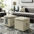 Cream White Linen Storage Ottoman - Markella - Chrome Nailhead
