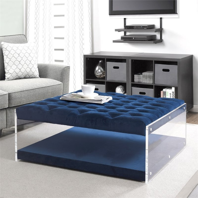 Posh Living Courtney Velvet Acrylic Ottoman with Nailhead in Blue