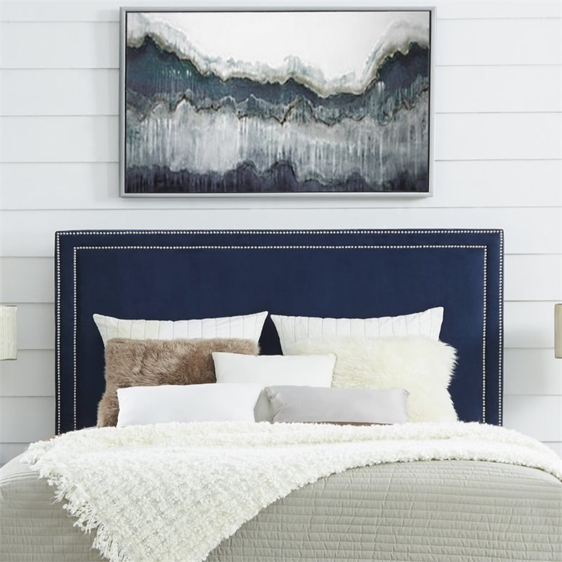 Attirant Details About Tristan Navy Blue Velvet Tufted Headboard   King Size    Upholstered