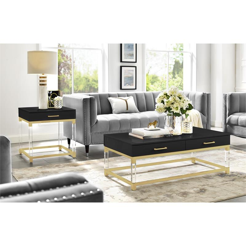 Briar High Gloss Coffee Table With Acrylic Legetal Base Black Gold