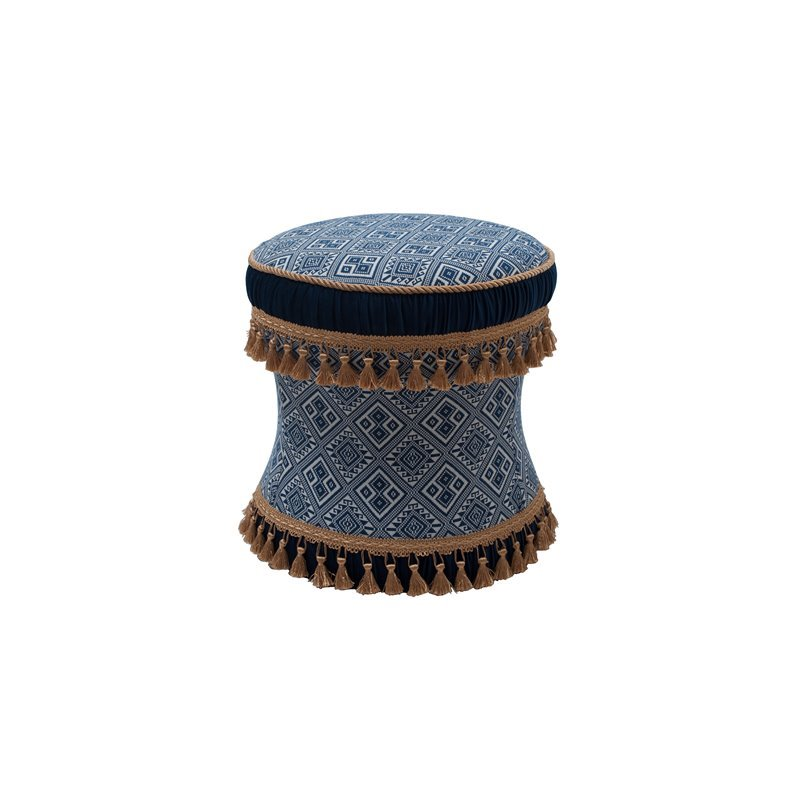 Leona Decorative Ottoman Blue/White