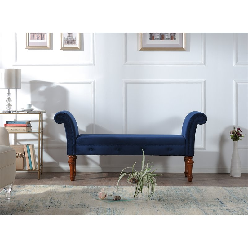 Elise Roll Arm Entryway Bench Navy Blue
