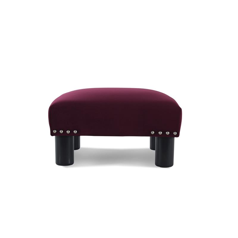 Jules Square Accent Footstool Ottoman Burgundy