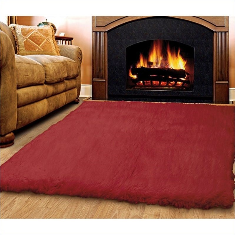 Riverbay Furniture 5' x 7' Hand Woven Area Rug in Red