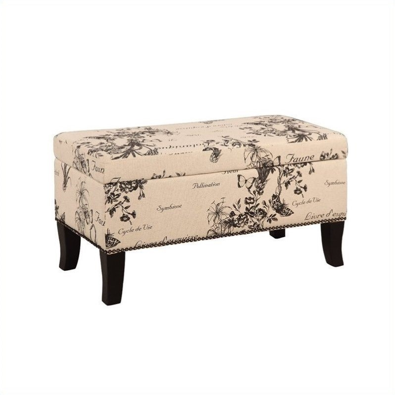 Riverbay Furniture Linen Ottoman in Botanical