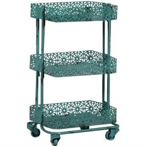Riverbay Furniture Metal 3 Tier Cart in Turquoise
