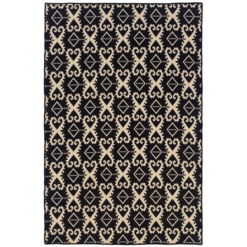 Riverbay Furniture 5' x 8' Hand Woven Ikat Wool Rug in Gray