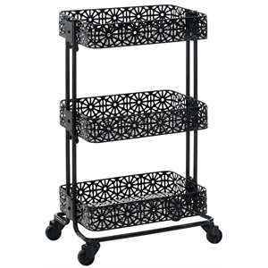 Riverbay Furniture 3 Tier Metal Serving Cart in Distressed Glossy Black