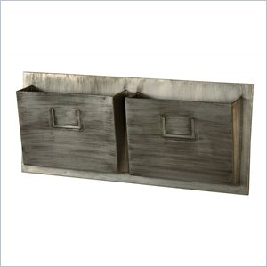 Riverbay Furniture Metal Two Slot Mailbox in in Gray