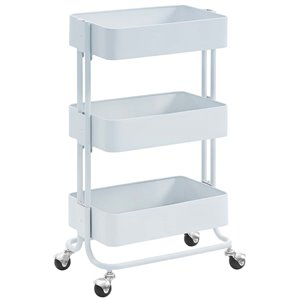 Riverbay Furniture 3 Tier Serving Cart in Glossy White