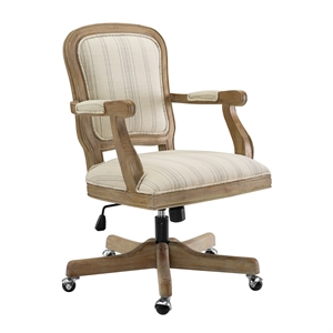 Riverbay Furniture Aspen Upholstered Striped Fabric and Wood Office Chair Beige