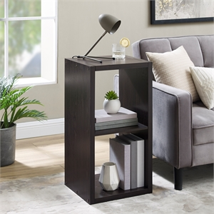 Riverbay Furniture Two Cubby Wood Storage Cabinet in Espresso