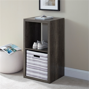Riverbay Furniture Two Cubby Wood Storage Cabinet in Gray