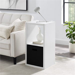 Riverbay Furniture Two Cubby Wood Storage Cabinet in White