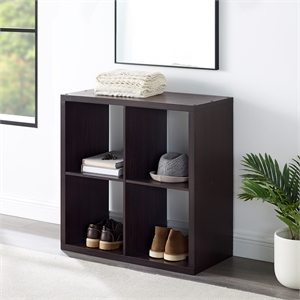 Riverbay Furniture Four Cubby Wood Storage Cabinet in Espresso