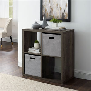Riverbay Furniture Four Cubby Wood Storage Cabinet in Gray