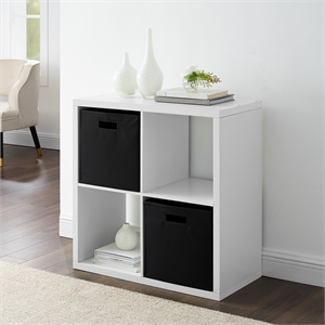 Riverbay Furniture Four Cubby Wood Storage Cabinet in White